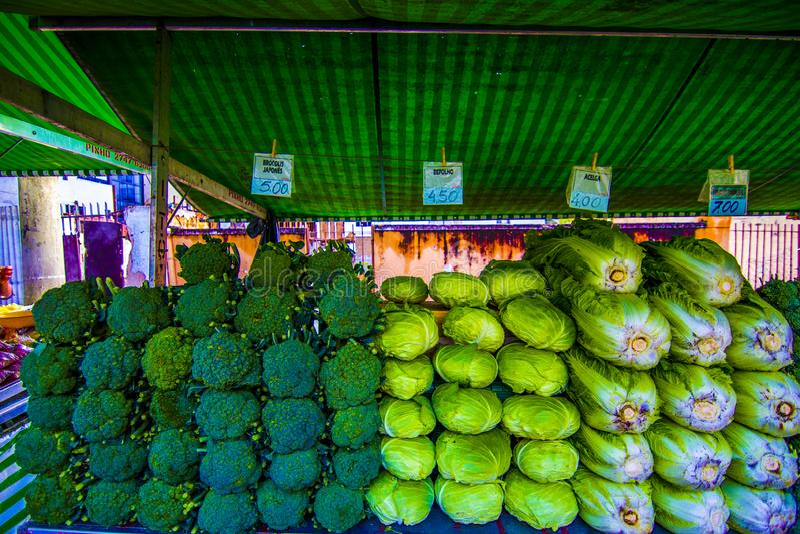 Broccoli  Vendor at public market street market in Sao Jose dos campos Brazil. Grens and broccoli Vendor in a busy street market in Sao Jose dos campos Brazil stock photo