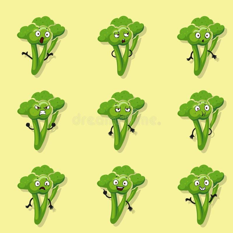 Broccoli verschillende emoties Het vectorkarakter van de beeldverhaalstijl - reeks royalty-vrije illustratie