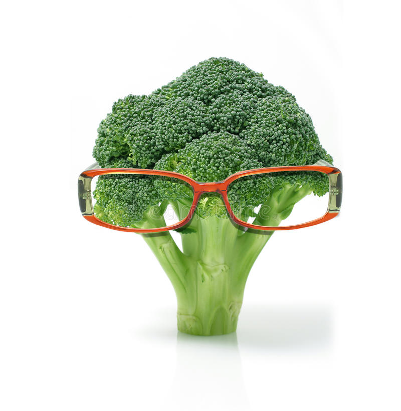 Broccoli wearing glasses royalty free stock photo