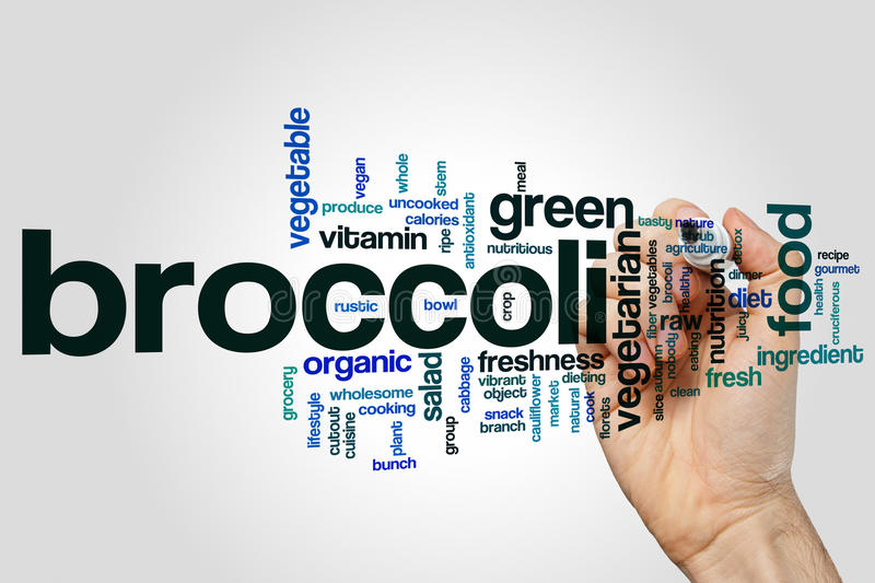 Broccoli word cloud. Concept on grey background stock image