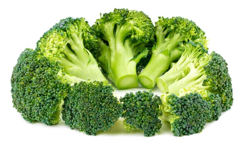 Broccoligrönsak som isoleras på vitbakgrund Närbild arkivfoto
