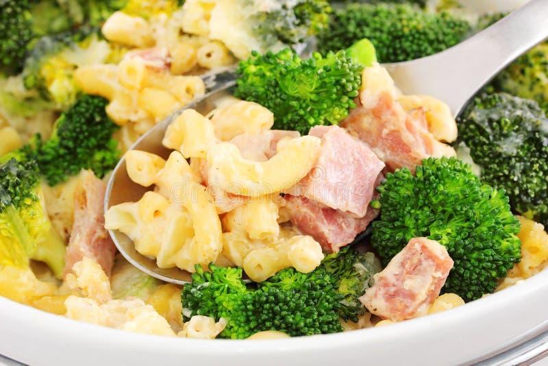 Broccoliham en kaasbraadpan royalty-vrije stock afbeelding