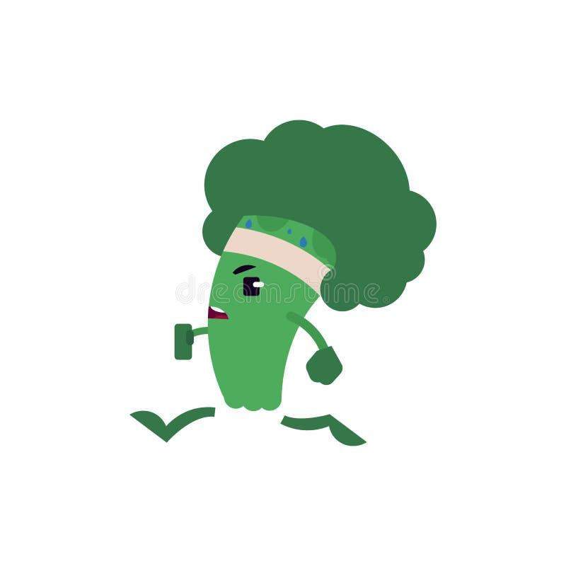Broccolijogging met verband op zijn hoofd - groene nuttige vitaminegroente die sport oefeningen en het lopen doen vector illustratie