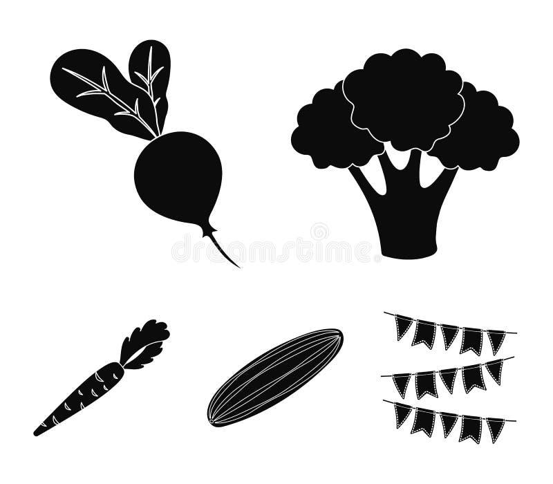 Broccolikool, radijs, groene komkommer, wortelen met bovenkanten Groenten geplaatst inzamelingspictogrammen in zwarte stijlvector stock illustratie