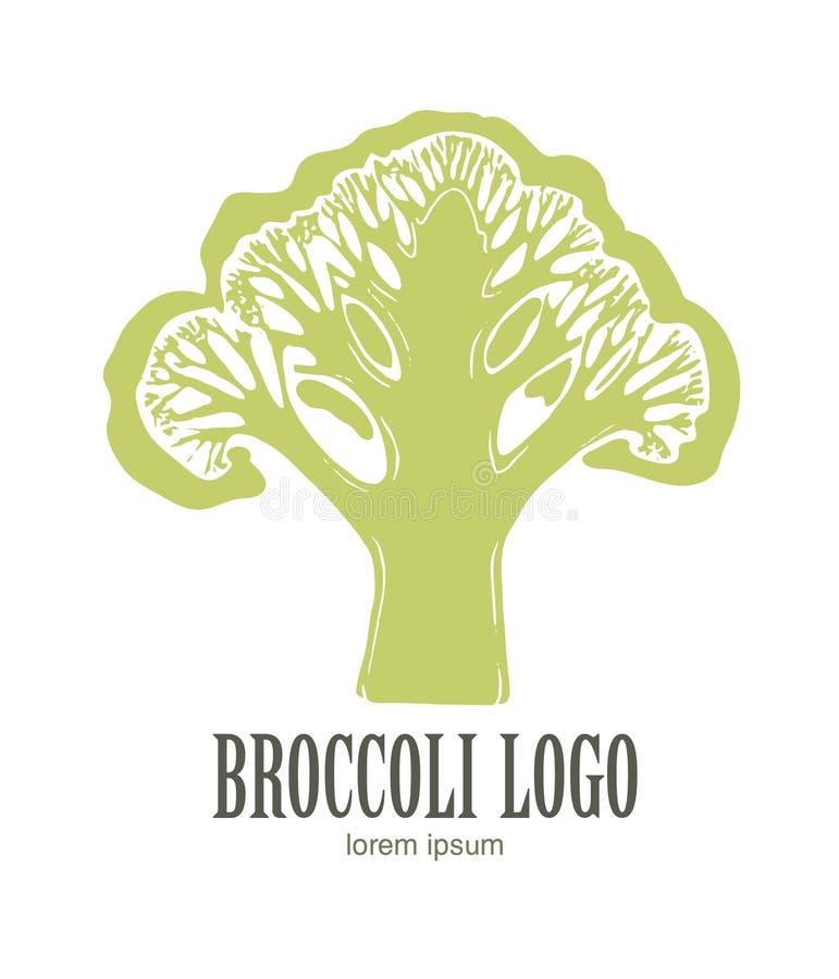 Broccolilogo Organisk mat Organisk botanisk designmall Hand tecknad vektorillustration stock illustrationer