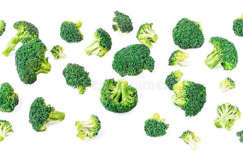 Broccolipatroon Creatieve lay-out die van broccoli wordt gemaakt Het concept van het voedsel Vlak leg royalty-vrije stock fotografie