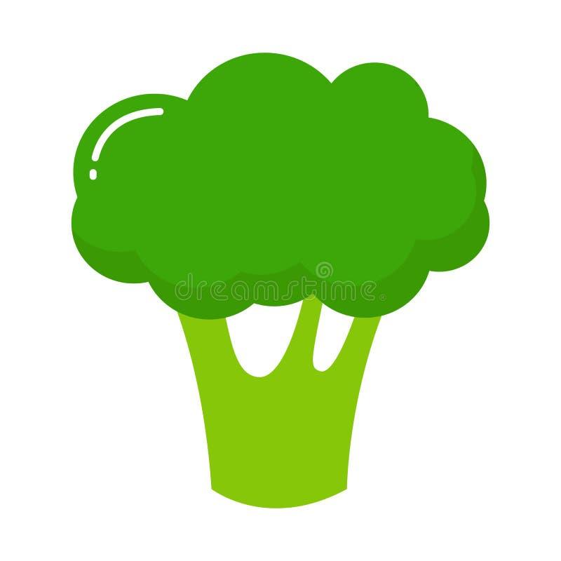 Broccolipictogram Vlakke illustratie van broccoli vectordiepictogram op witte achtergrond wordt geïsoleerd vector illustratie