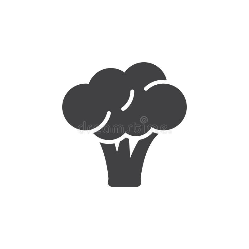 Broccolisymbolsvektor, fyllt plant tecken, fast pictogram som isoleras på vit stock illustrationer