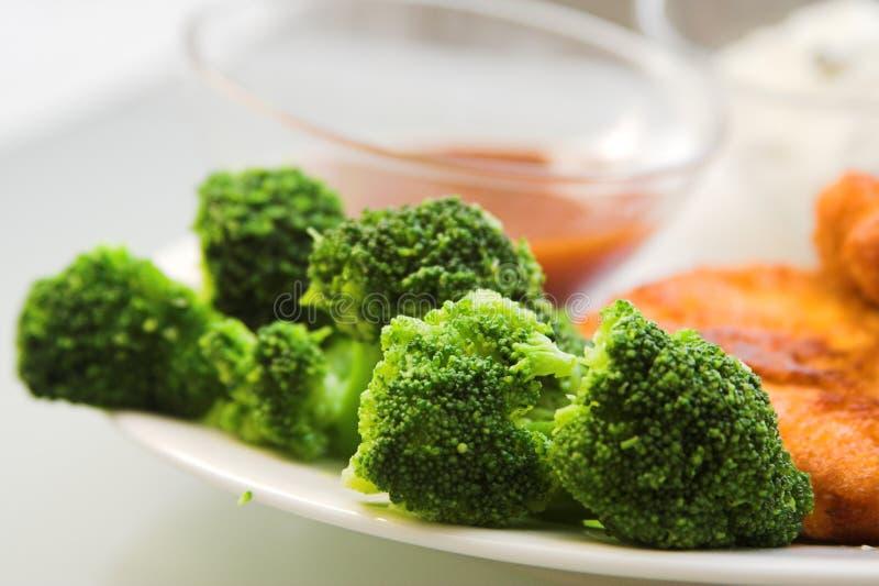Broccoly, gebraden vlees royalty-vrije stock afbeelding