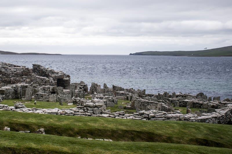 Broch de la isla de las Orcadas antigua del acuerdo de Gurness Escocia Reino Unido fotografía de archivo