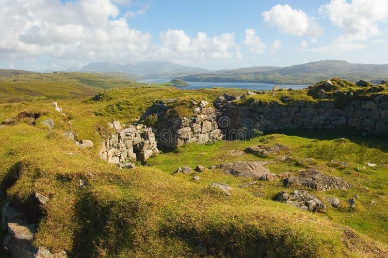 Broch van het eiland van Dun Beag Skye, Schotland stock fotografie