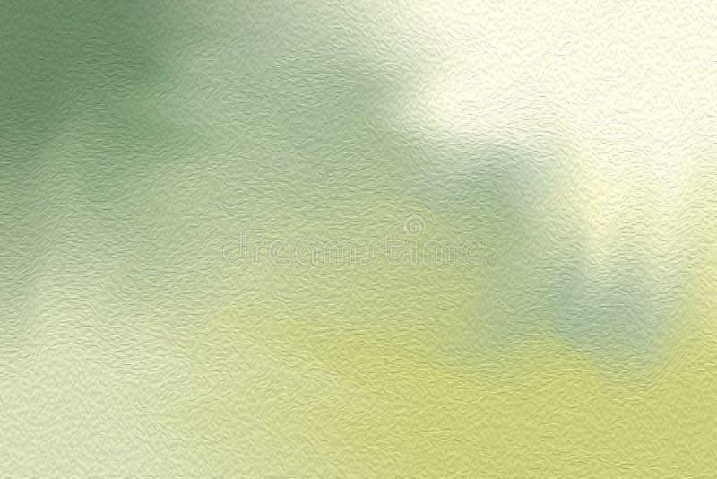 Brocha brillante verde del arte en el fondo de papel de la textura, pastel de acrílico del papel pintado del color de agua del ar stock de ilustración