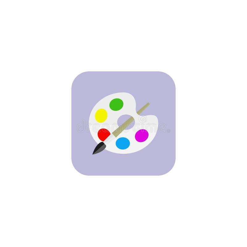 Brocha con el icono de la paleta Estilo plano del diseño Fondo blanco EPS 10 ilustración del vector