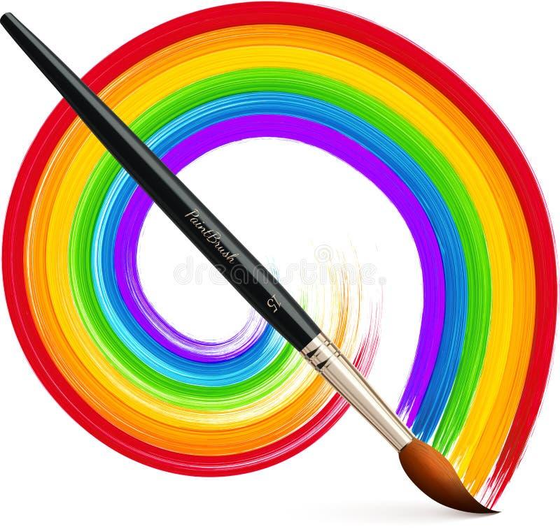 Brocha del vector con el arco iris pintado acrílico stock de ilustración