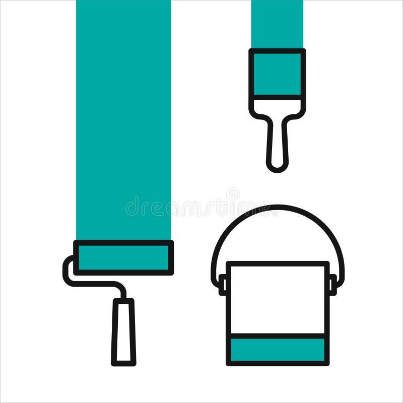 Brocha, rodillo y lata libre illustration
