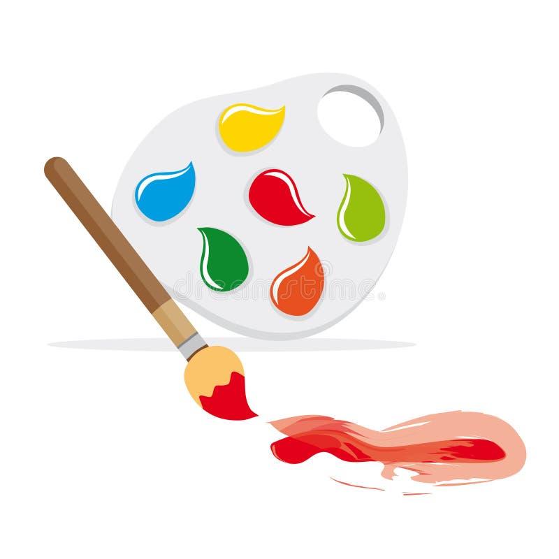 Brocha y gama de colores de color stock de ilustración