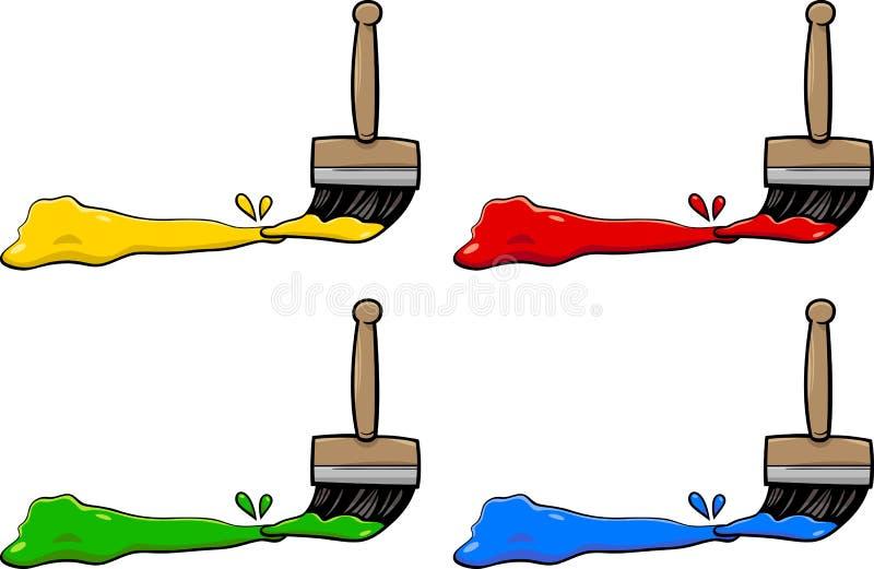 Brochas con colores stock de ilustración