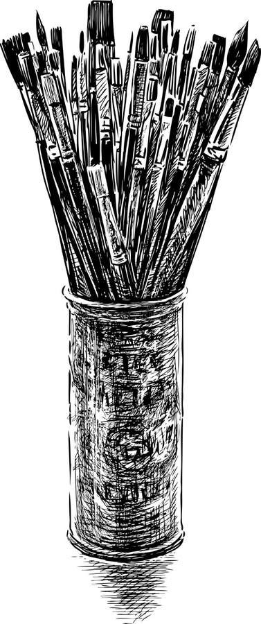 Brochas en un tarro libre illustration