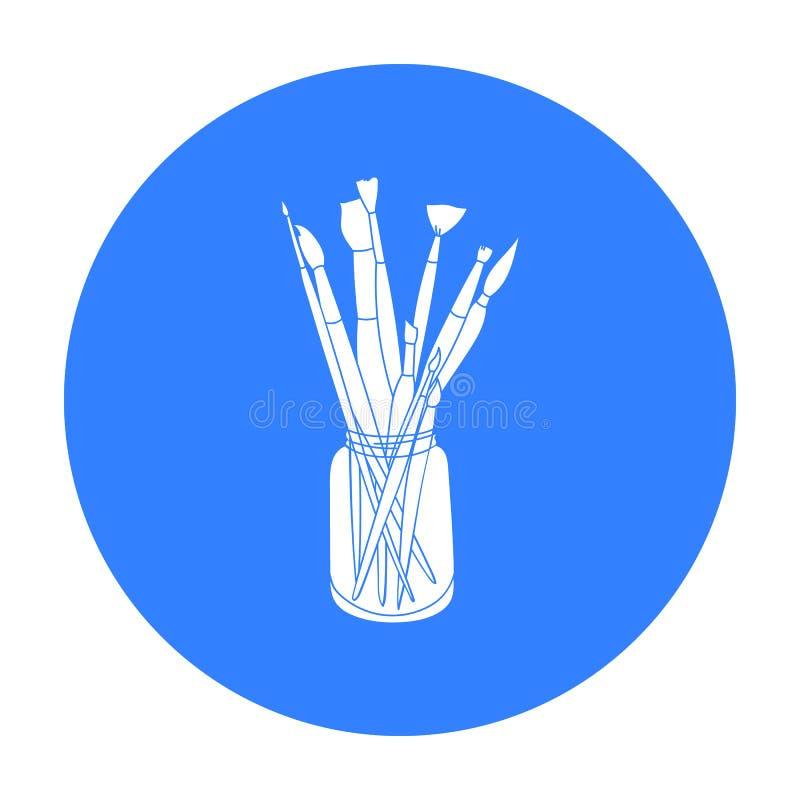 Brochas para pintar en el icono del tarro en estilo negro aislado en el fondo blanco Acción del símbolo del artista y del dibujo libre illustration