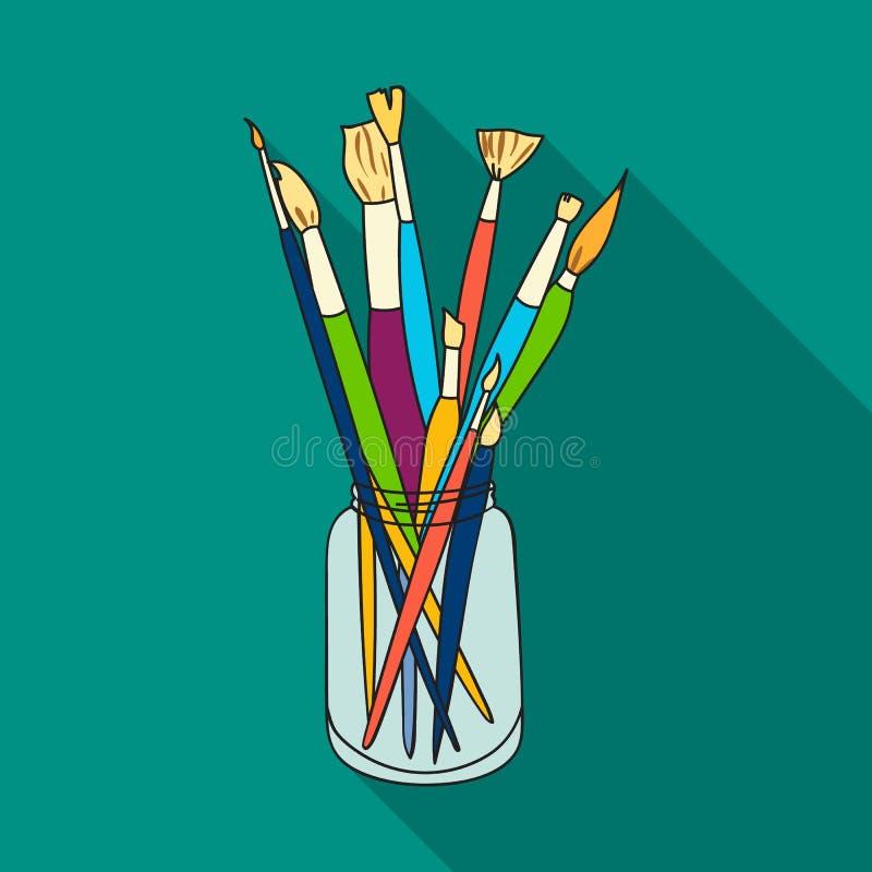 Brochas para pintar en el icono del tarro en estilo plano aislado en el fondo blanco Acción del símbolo del artista y del dibujo libre illustration