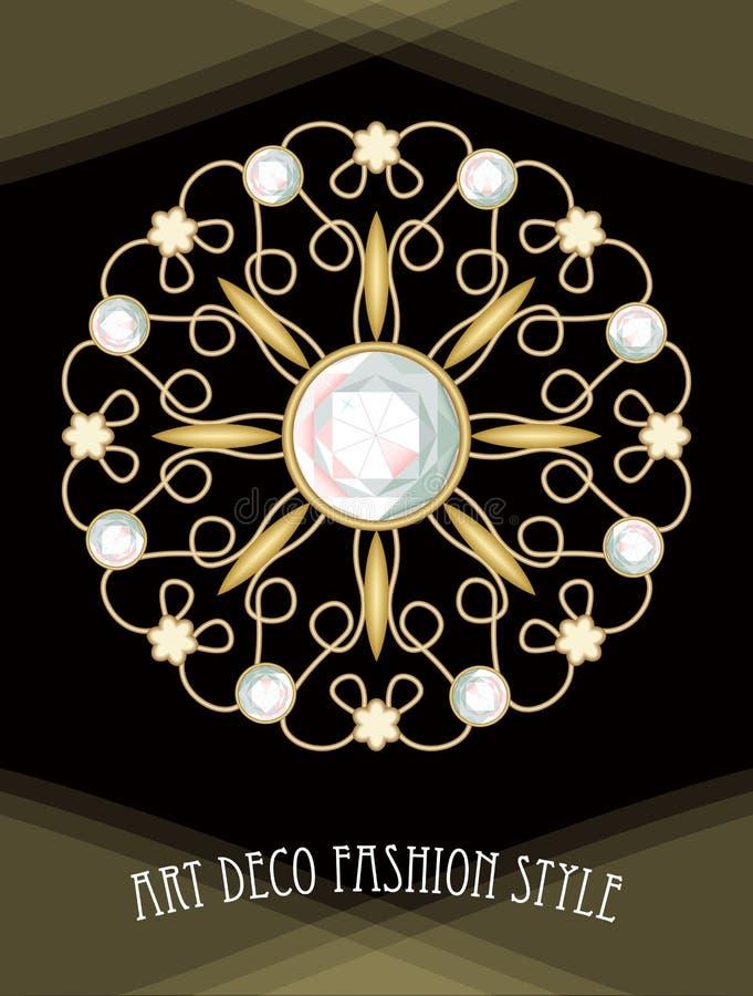 Broche afiligranada del art déco costoso en la composición con los diamantes, joya antigua del oro, moda del círculo en estilo de ilustración del vector