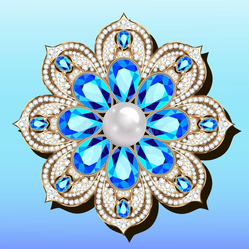 broche brilhante pendente com pedras preciosas Sornos vitorianos de Filigree Elemento de projeto ilustração do vetor