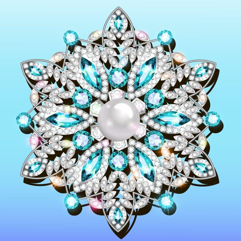 broche brilhante pendente com pedras preciosas Sornos vitorianos de Filigree Elemento de projeto ilustração stock
