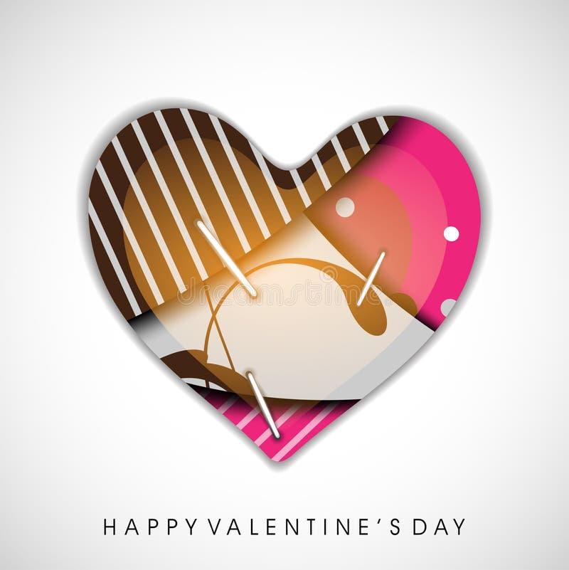 Broche colorée de coeur vers le haut, carte de voeux de jour de Valentines