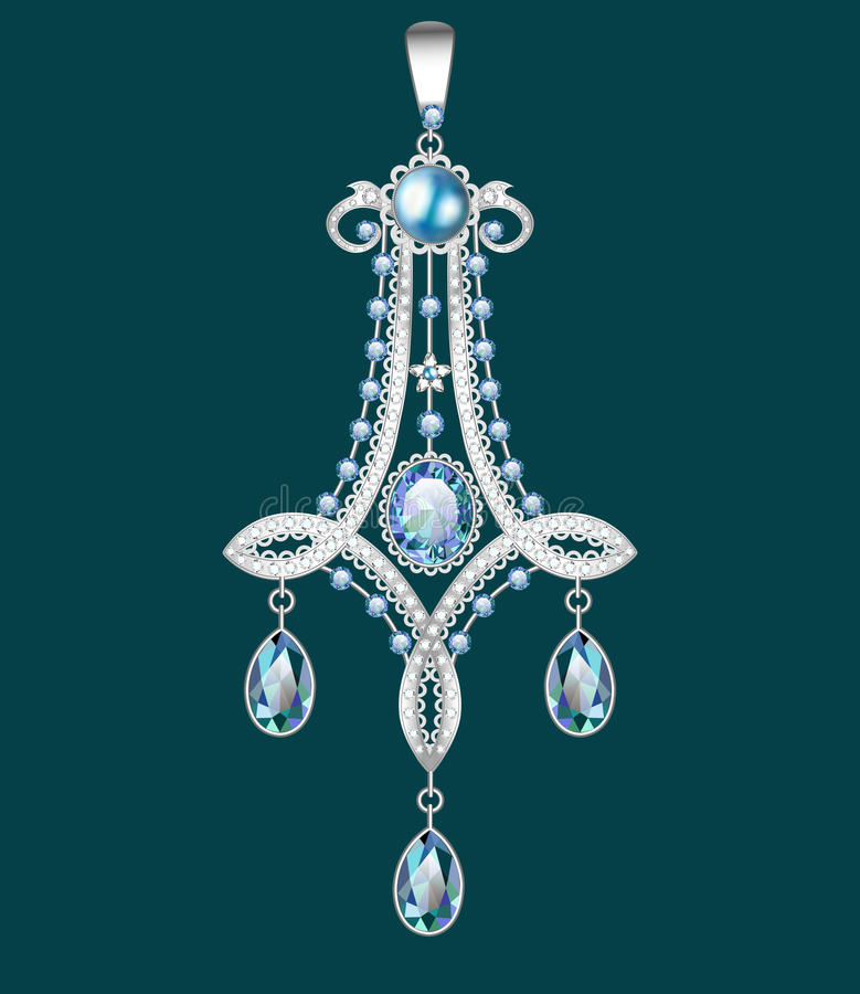 broche com pérolas e as pedras preciosas V filigrana ilustração do vetor