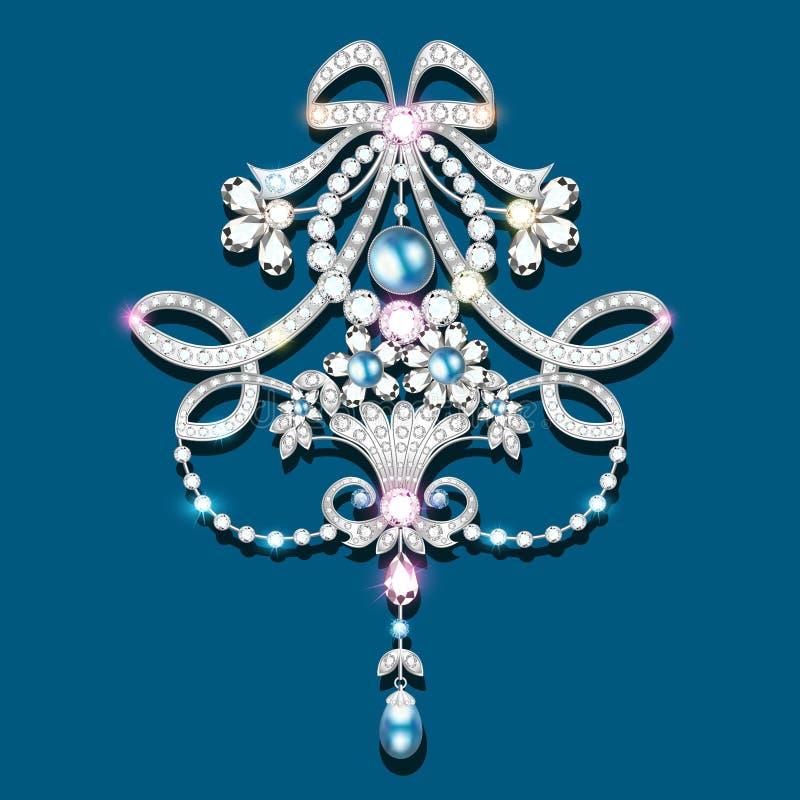 broche con las perlas y las piedras preciosas V afiligranado ilustración del vector