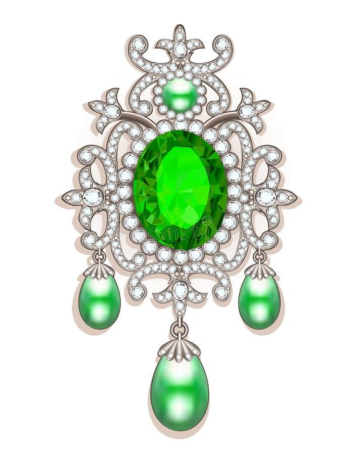 broche con las perlas y las piedras preciosas V afiligranado stock de ilustración