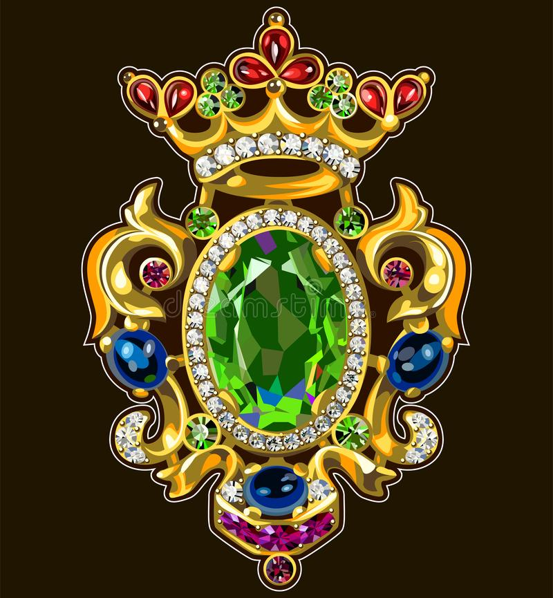 Vintage Brooch Multicolored Gems Jewelry stock illustration