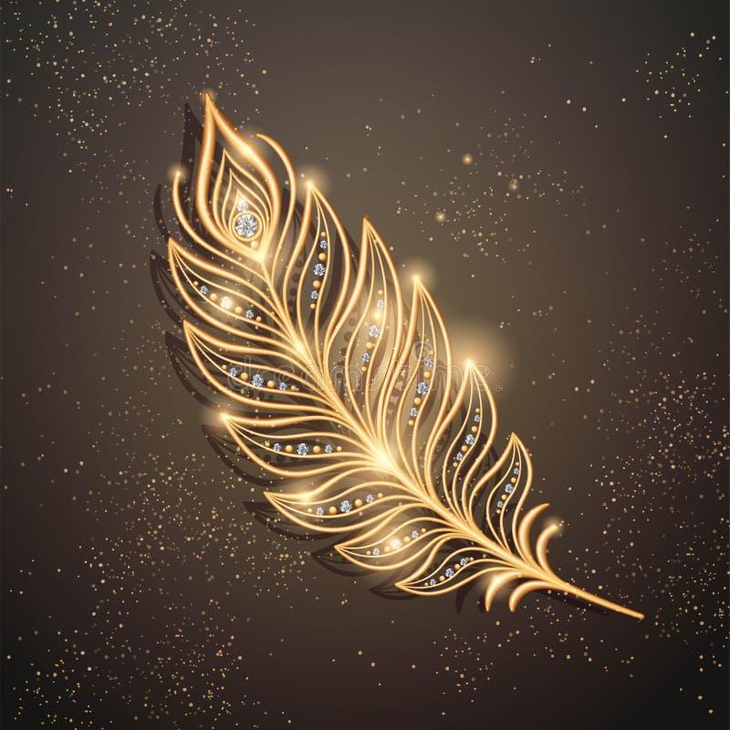 Broche d'or de plume illustration libre de droits