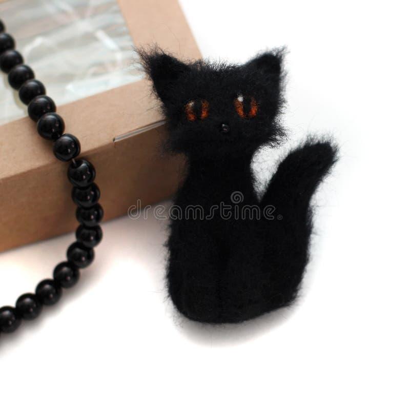 Broche de chat de feutrage photographie stock libre de droits