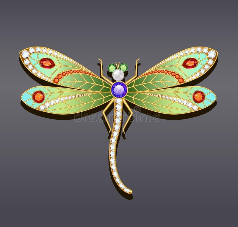 broche de la libélula hecha del oro con el st precioso stock de ilustración