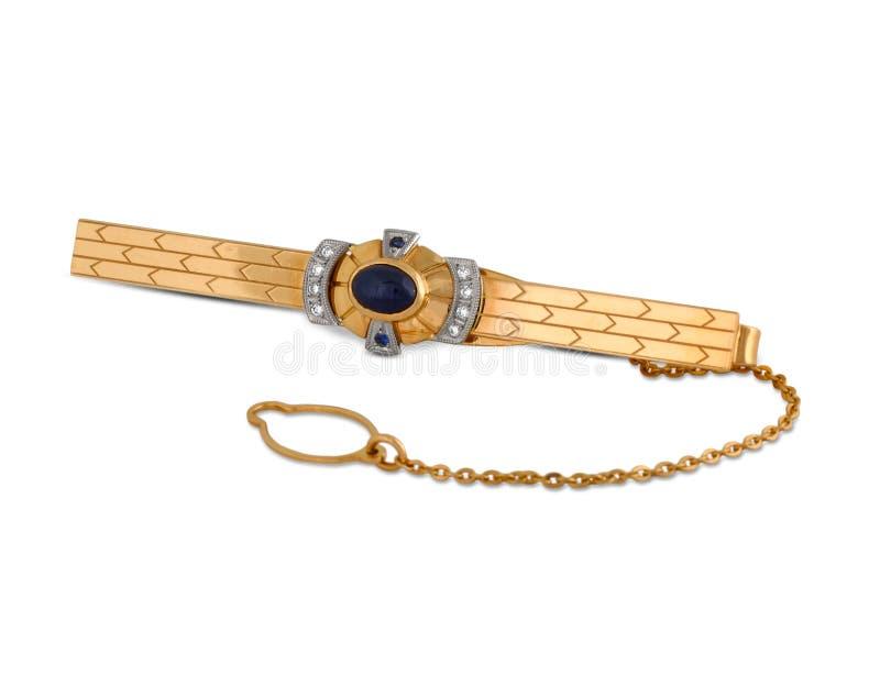Broche de relation étroite d'or avec des diamants photo libre de droits