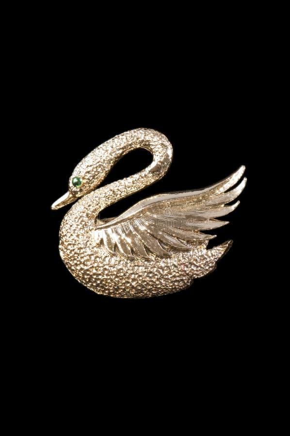 Broche del cisne del oro de la vendimia fotografía de archivo