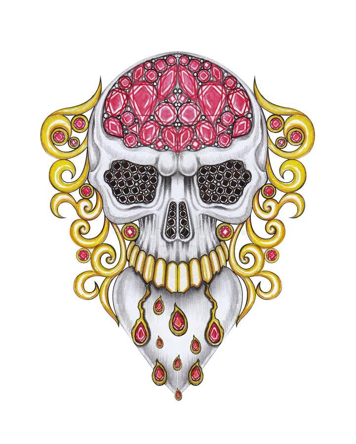 Broche do crânio da mistura de Art Vintage Heart do projeto da joia ilustração do vetor