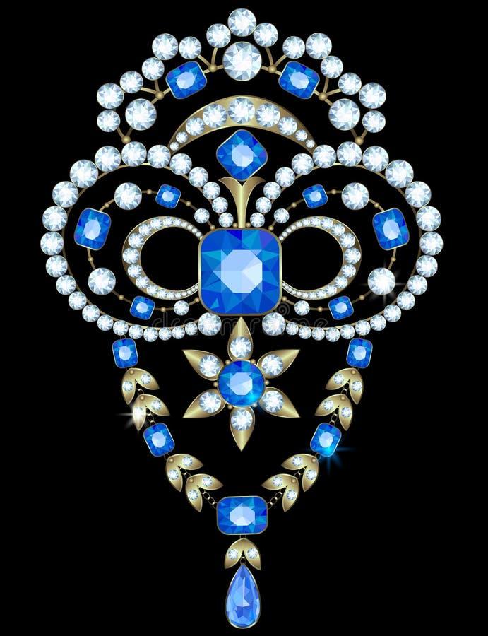 Broche met diamanten stock illustratie