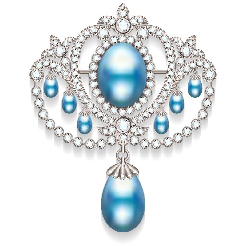 broche met parels en edelstenen Filigraanv royalty-vrije illustratie