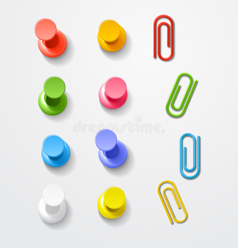 Broches et clips de couleur illustration stock
