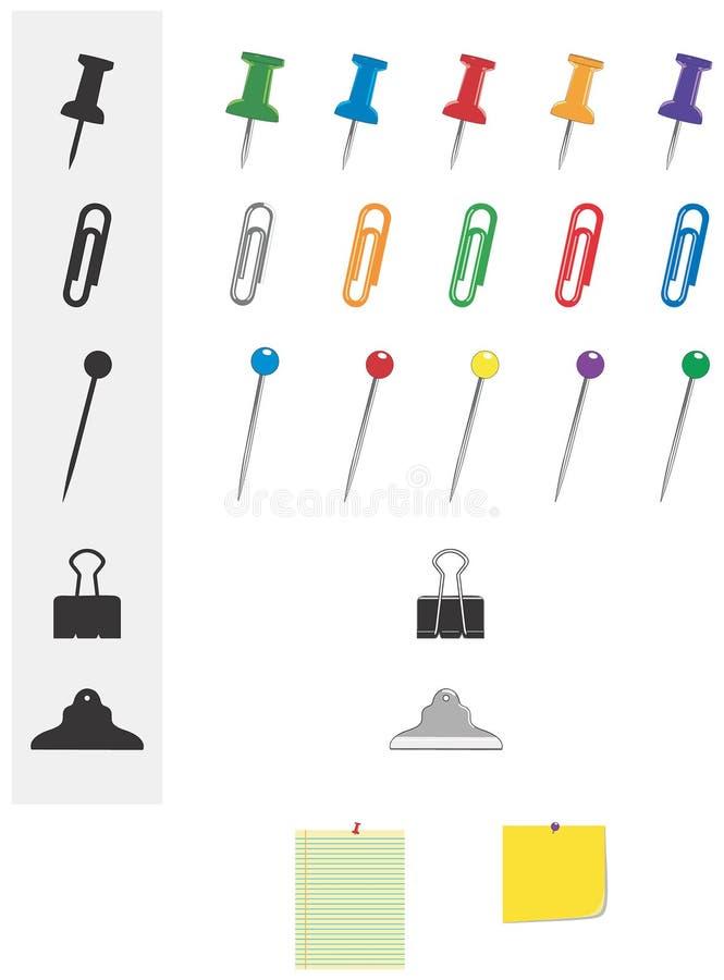 Broches et clips de papeterie de bureau illustration libre de droits