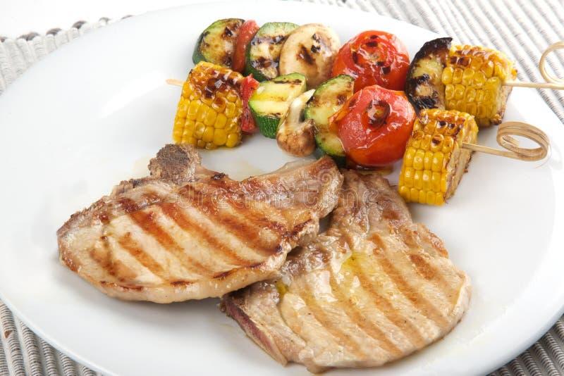 brochette砍猪肉蔬菜 免版税库存图片