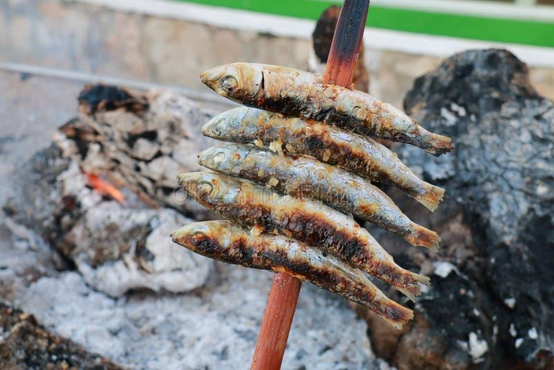 Brochette des sardines rôtissant dans les braises du bois de chauffage, nourriture typique des côtes de l'Andalousie, Espagne photo libre de droits
