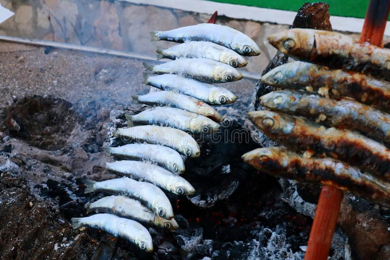 Brochette des sardines rôtissant dans les braises du bois de chauffage, nourriture typique des côtes de l'Andalousie, Espagne image libre de droits