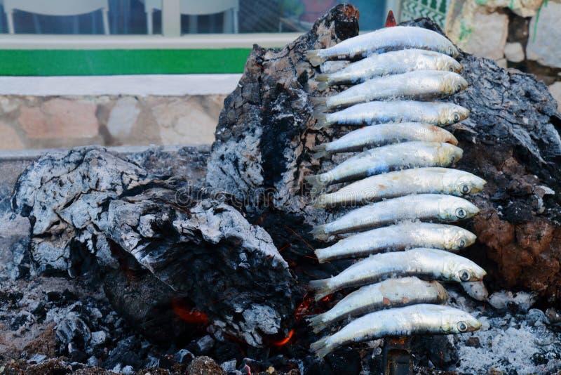 Brochette des sardines rôtissant dans les braises du bois de chauffage, nourriture typique des côtes de l'Andalousie, Espagne photos libres de droits