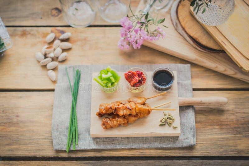Brochette do yakitori da galinha imagem de stock royalty free