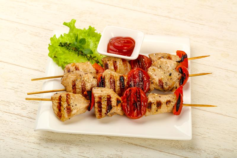 Brochette grillée de dinde photos stock