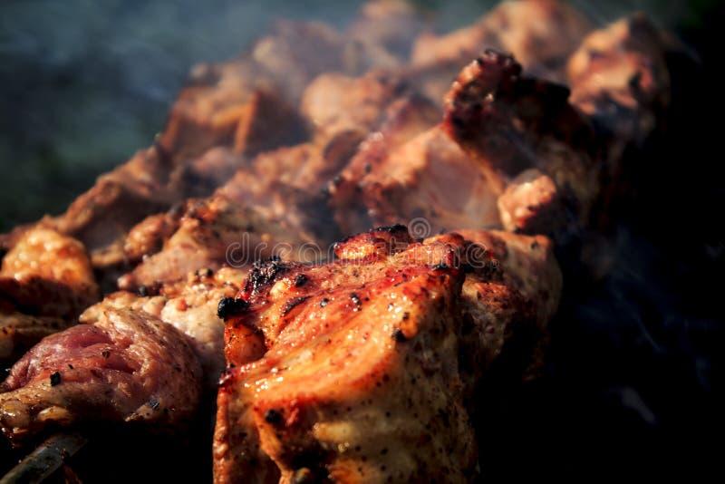 Brochettes de barbecue avec de la viande photos libres de droits