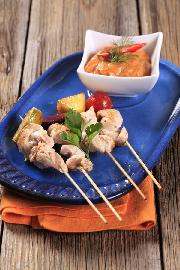 Brochettes de poulet photographie stock
